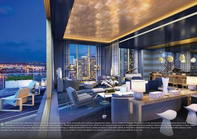 3D rendering sample at night of a large terrace and interior of a large living room in Elysee condo.