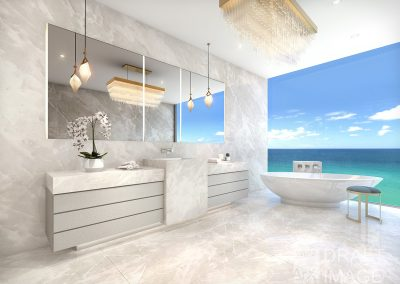 3D rendering sample of a bathroom design in The Estates at Acqualina condo.