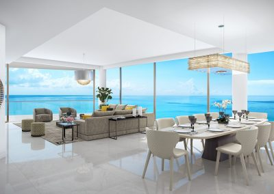 3D rendering sample of a dining room and living room design in The Estates at Acqualina condo.