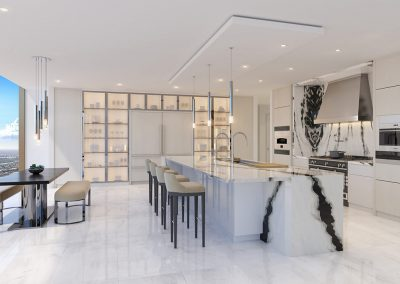 3D rendering sample of a kitchen design in The Estates at Acqualina condo.