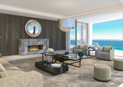 3D rendering sample of a living room design in The Estates at Acqualina condo.