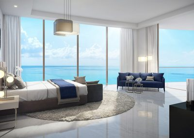 3D rendering sample of a bedroom design in The Estates at Acqualina condo.