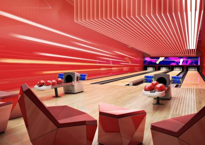 3D rendering sample of a bowling alley design in The Estates at Acqualina condo.