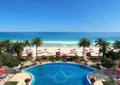3D rendering sample of a pool deck design in The Estates at Acqualina condo.