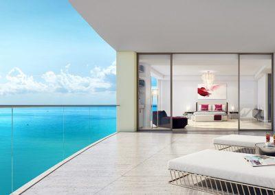 3D rendering sample of a terrace in The Estates at Acqualina condo.