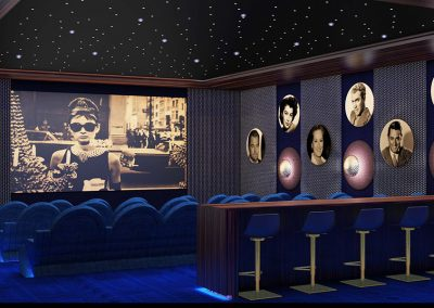3D rendering sample of the theater design in The Estates at Acqualina condo.