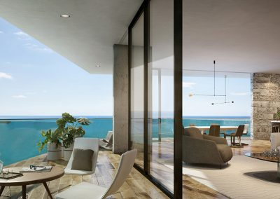 3D rendering sample of a large unit at The Fairchild Coconut Grove condo.