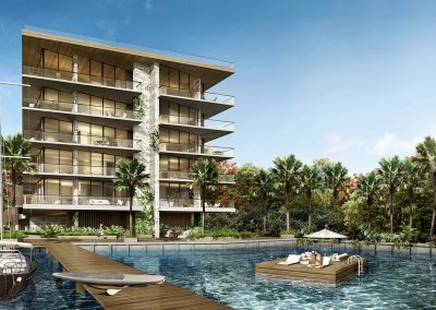 3D rendering sample of private dock at The Fairchild Coconut Grove condo.