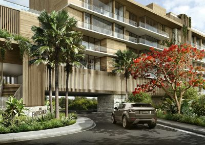 3D rendering sample of main entrance at The Fairchild Coconut Grove condo.