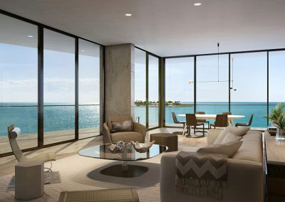 3D rendering sample of living room of a unit at The Fairchild Coconut Grove condo.