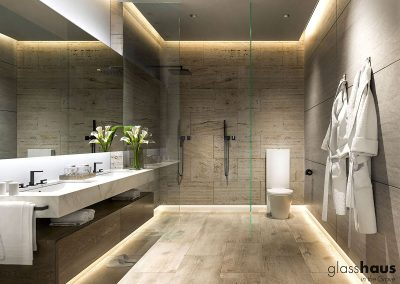 3D rendering sample of a bathroom design in GlassHaus condo.