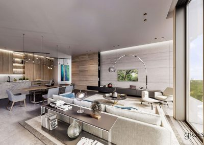 3D rendering sample of a living room and kitchen design in GlassHaus condo.