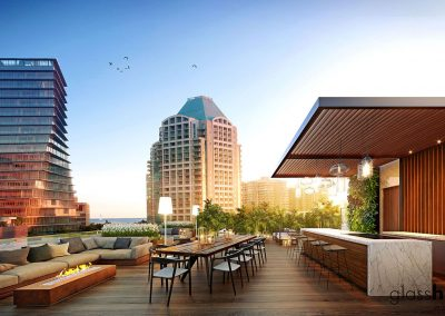 3D rendering sample of the roof deck lounge and bar at GlassHaus condo.