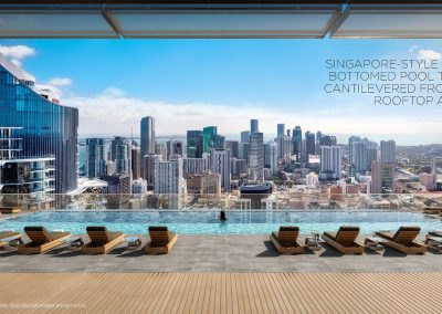 3D rendering sample of the roof top pool in Legacy Hotel & Residences condo.