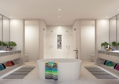 3D rendering sample of a bathroom design in Missoni Baia condo.