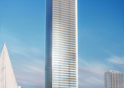 3D rendering sample of the exterior design for Missoni Baia condo at daytime.