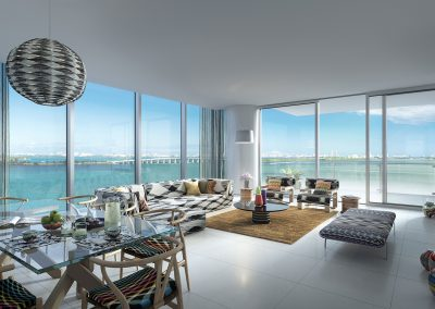3D rendering sample of a dining and living room design in Missoni Baia condo.