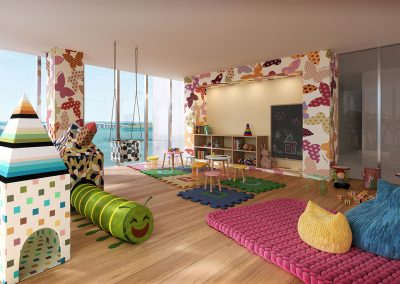 3D rendering sample of children's playroom in Missoni Baia condo.