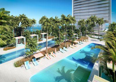 3D rendering sample of the pool deck design in Missoni Baia condo.
