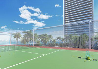 3D rendering sample of the tennis court in Missoni Baia condo.