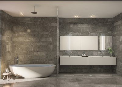 3D rendering sample of a bathroom at Monaco Yacht Club & Residences.