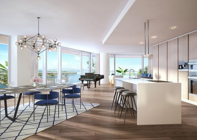 3D rendering sample of a kitchen at Monaco Yacht Club & Residences.
