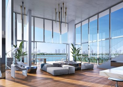 3D rendering sample of a large living room design in Monad Terrace condo.