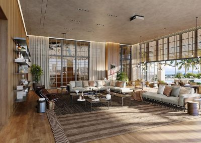 3D rendering sample of a clubroom design in Natiivo Miami condo.