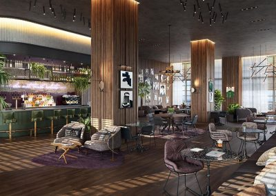 3D rendering sample of the lounge bar design in Natiivo Miami condo.