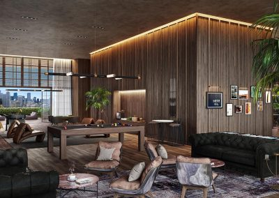 3D rendering sample of the game room in Natiivo Miami condo.