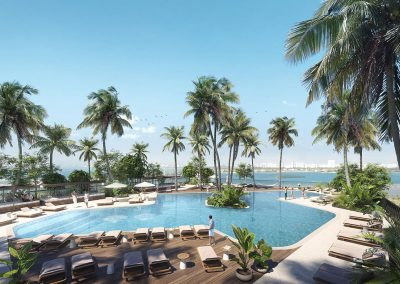 3D rendering sample the pool deck design in Natiivo Miami condo.