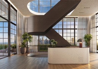 3D rendering sample of the reception design in Natiivo Miami condo.