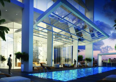 3D rendering sample of the pool deck in Okan Tower condo.