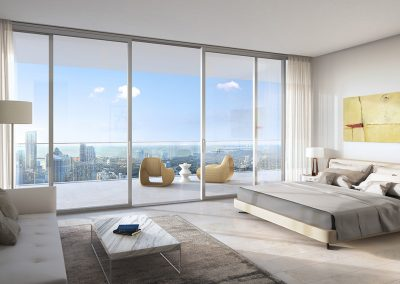 3D rendering sample of a bedroom design in One River Point condo.