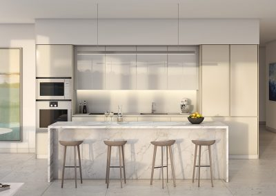 3D rendering sample of a kitchen design in One River Point condo.