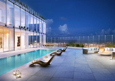 3D rendering sample of a penthouse design in One River Point condo with a private pool..
