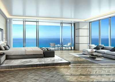 3D rendering sample of a bedroom design in Turnberry Ocean Club condo.