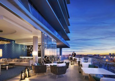 3D rendering sample of the clubroom terrace in Turnberry Ocean Club condo.