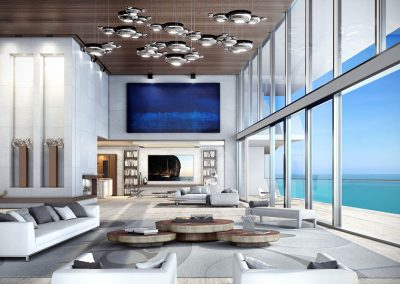 3D rendering sample of a large living room design in Turnberry Ocean Club condo.