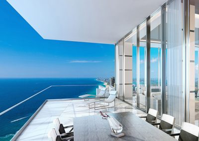 3D rendering sample of a terrace in Turnberry Ocean Club condo.